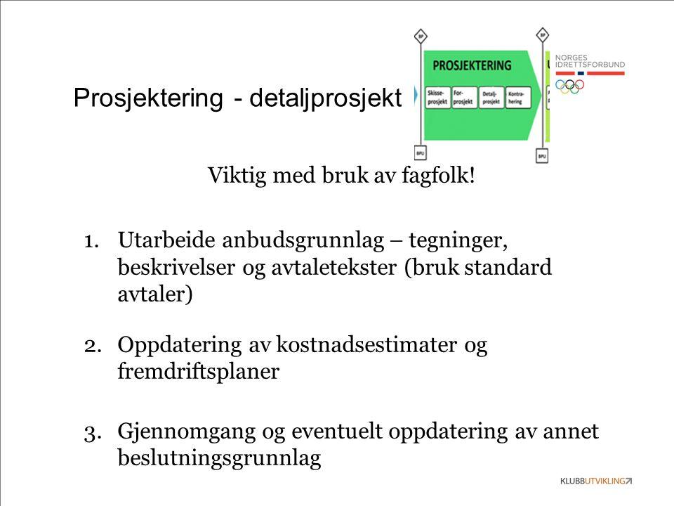 Prosjektering - detaljprosjekt Viktig med bruk av fagfolk.