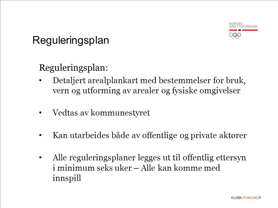 Reguleringsplan Reguleringsplan: Detaljert arealplankart med bestemmelser for bruk, vern og utforming av arealer og fysiske omgivelser Vedtas av kommu