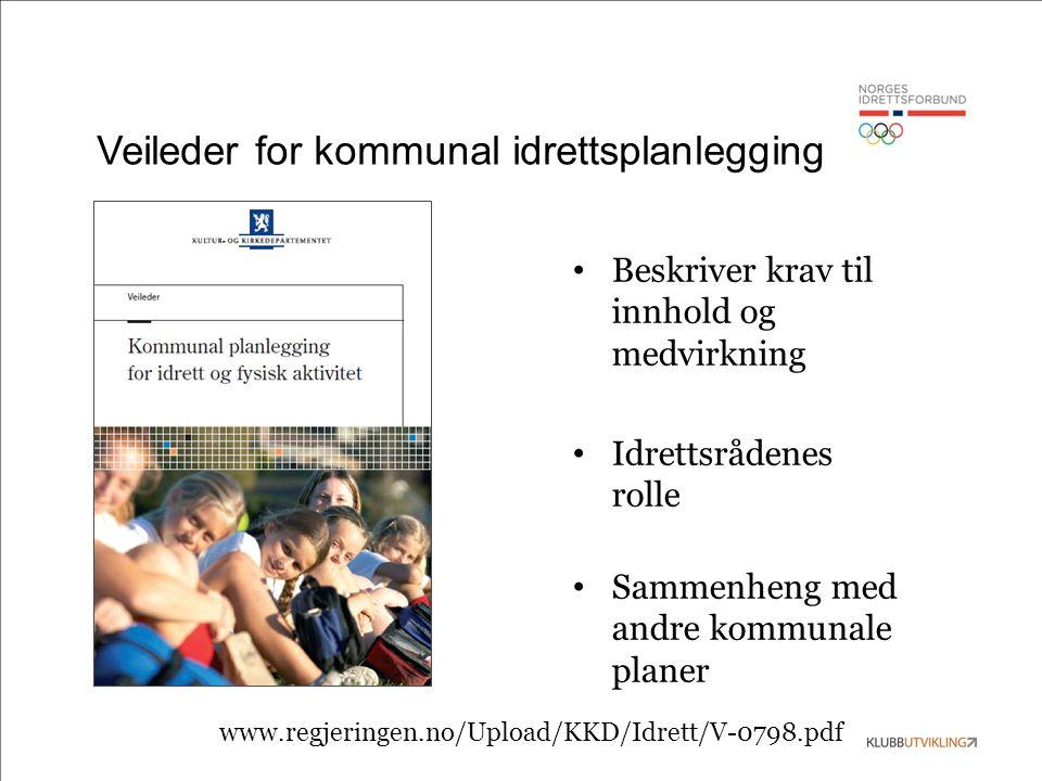 Veileder for kommunal idrettsplanlegging Beskriver krav til innhold og medvirkning Idrettsrådenes rolle Sammenheng med andre kommunale planer www.regjeringen.no/Upload/KKD/Idrett/V-0798.pdf