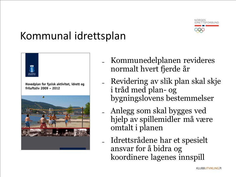 Kommunal idrettsplan ₋ Kommunedelplanen revideres normalt hvert fjerde år ₋ Revidering av slik plan skal skje i tråd med plan- og bygningslovens beste