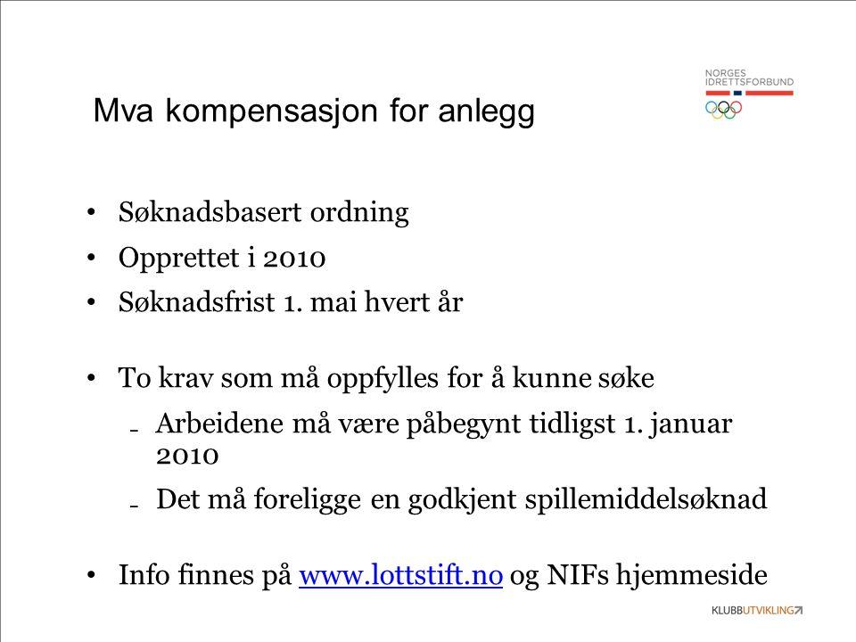 Mva kompensasjon for anlegg Søknadsbasert ordning Opprettet i 2010 Søknadsfrist 1. mai hvert år To krav som må oppfylles for å kunne søke ₋ Arbeidene
