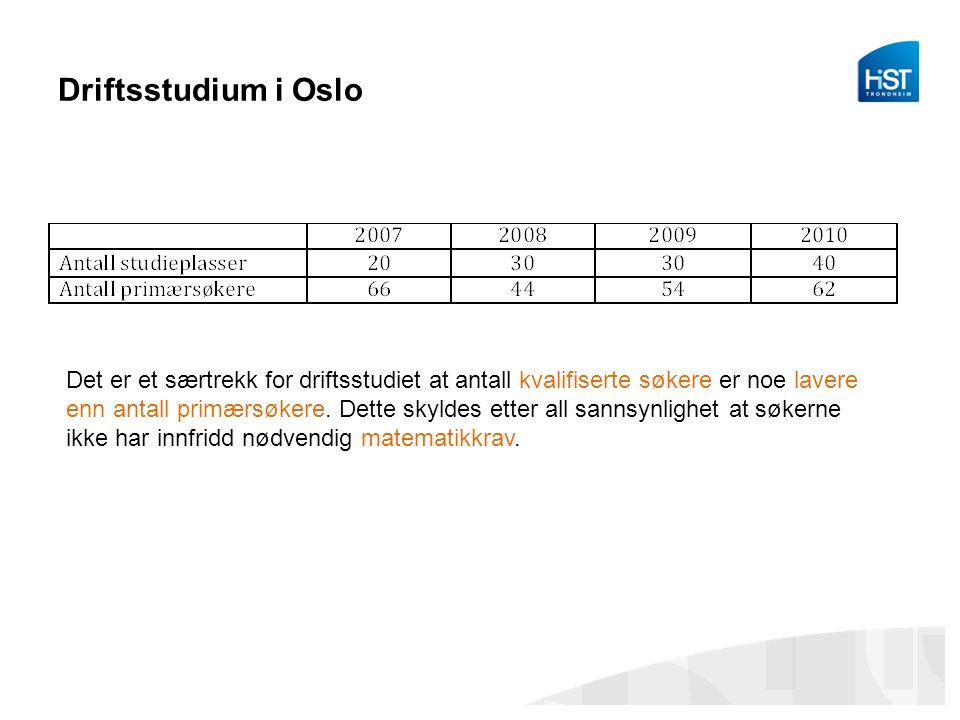 Driftsstudium i Oslo Det er et særtrekk for driftsstudiet at antall kvalifiserte søkere er noe lavere enn antall primærsøkere.