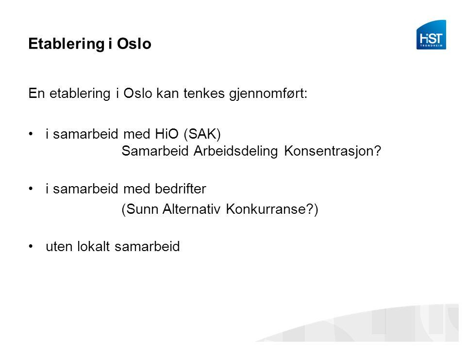 Etablering i Oslo En etablering i Oslo kan tenkes gjennomført: i samarbeid med HiO (SAK) Samarbeid Arbeidsdeling Konsentrasjon.