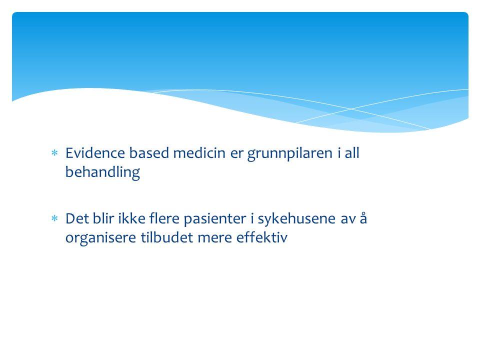  Evidence based medicin er grunnpilaren i all behandling  Det blir ikke flere pasienter i sykehusene av å organisere tilbudet mere effektiv