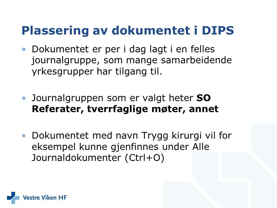 Plassering av dokumentet i DIPS Dokumentet er per i dag lagt i en felles journalgruppe, som mange samarbeidende yrkesgrupper har tilgang til.