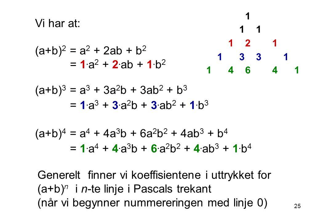 1 11 121 1331 14641 Vi har at: (a+b) 2 = a 2 + 2ab + b 2 = 1.