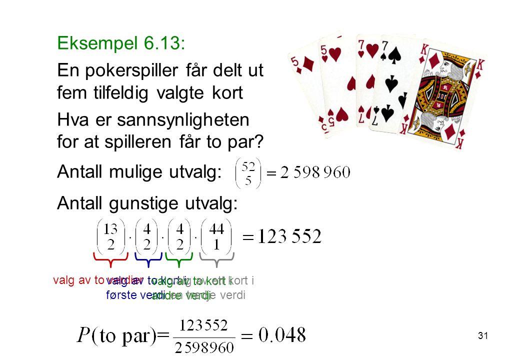 Eksempel 6.13: En pokerspiller får delt ut fem tilfeldig valgte kort Hva er sannsynligheten for at spilleren får to par.