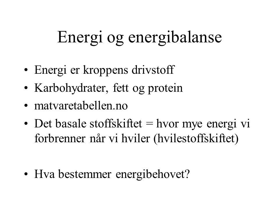 Energi og energibalanse Energi er kroppens drivstoff Karbohydrater, fett og protein matvaretabellen.no Det basale stoffskiftet = hvor mye energi vi forbrenner når vi hviler (hvilestoffskiftet) Hva bestemmer energibehovet