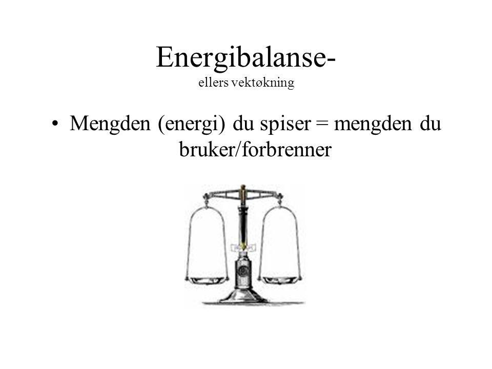 Energibalanse- ellers vektøkning Mengden (energi) du spiser = mengden du bruker/forbrenner