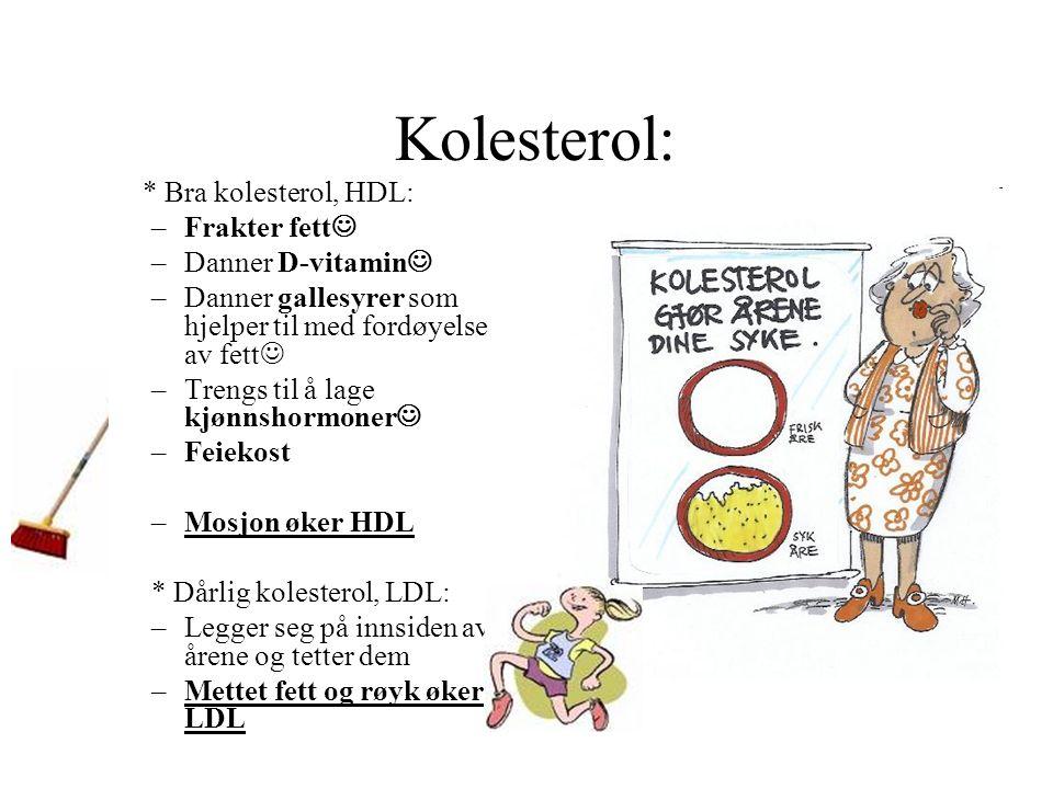 Kolesterol: * Bra kolesterol, HDL: –Frakter fett –Danner D-vitamin –Danner gallesyrer som hjelper til med fordøyelse av fett –Trengs til å lage kjønnshormoner –Feiekost –Mosjon øker HDL * Dårlig kolesterol, LDL: –Legger seg på innsiden av årene og tetter dem –Mettet fett og røyk øker LDL
