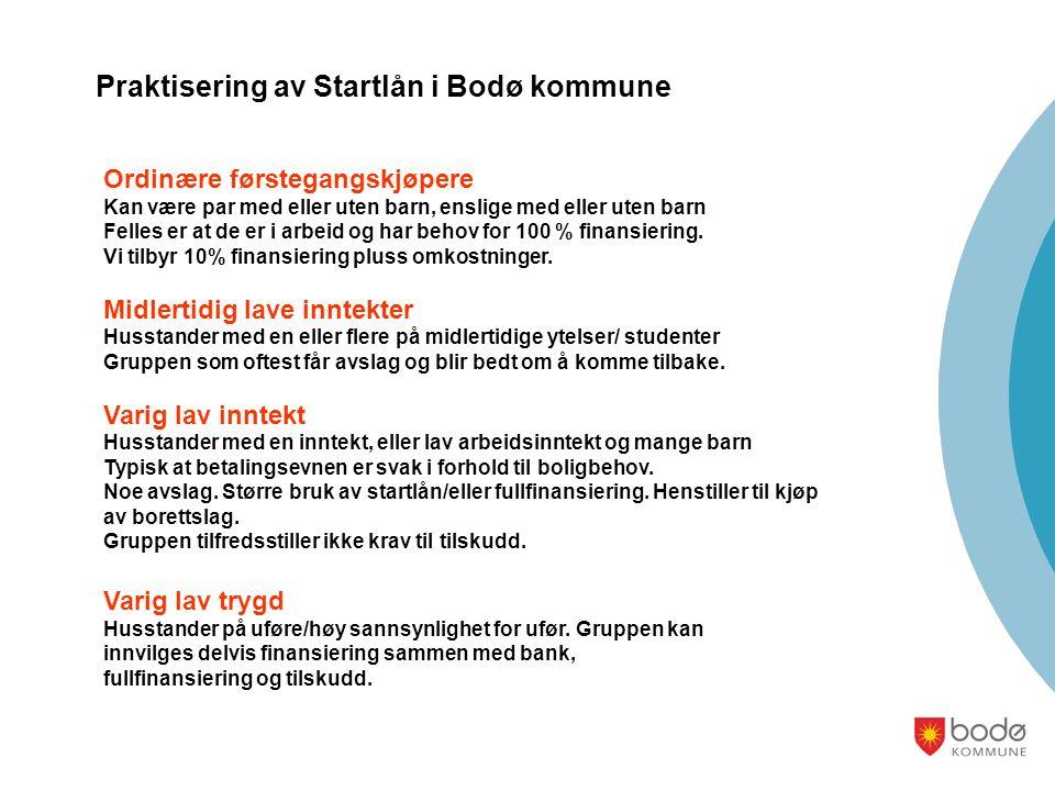Praktisering av Startlån i Bodø kommune Ordinære førstegangskjøpere Kan være par med eller uten barn, enslige med eller uten barn Felles er at de er i arbeid og har behov for 100 % finansiering.