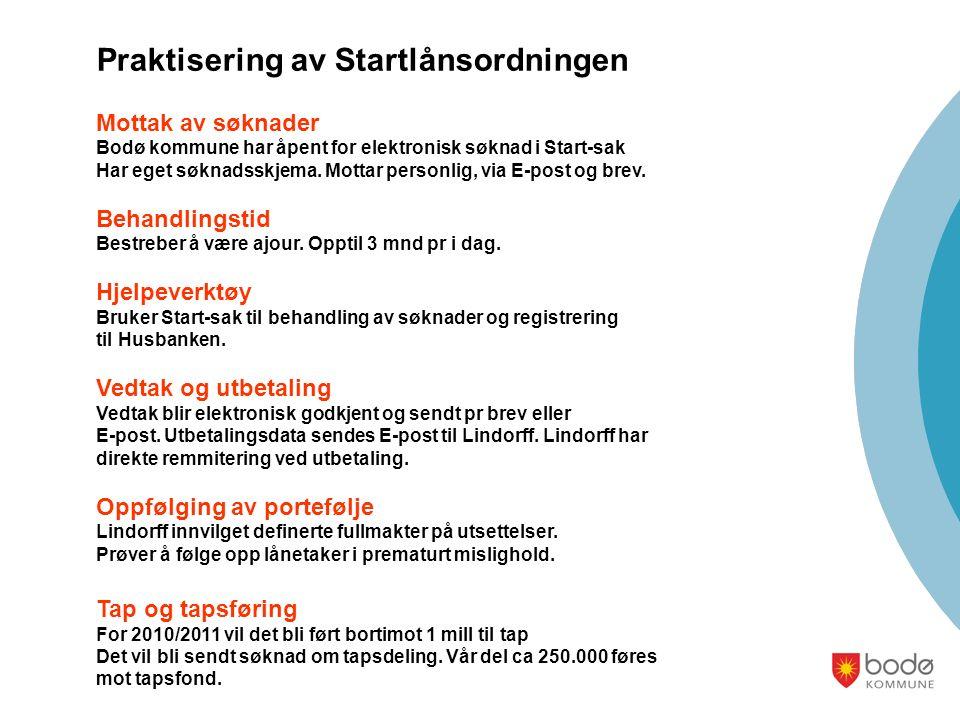 Praktisering av Startlånsordningen Mottak av søknader Bodø kommune har åpent for elektronisk søknad i Start-sak Har eget søknadsskjema. Mottar personl