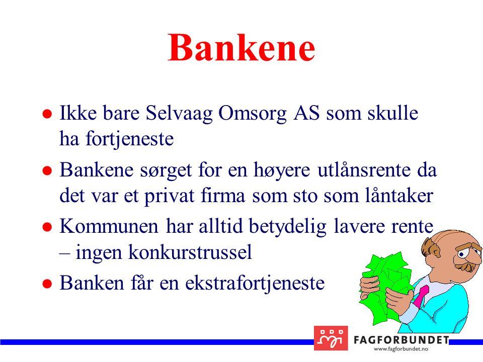 Bankene Ikke bare Selvaag Omsorg AS som skulle ha fortjeneste Bankene sørget for en høyere utlånsrente da det var et privat firma som sto som låntaker Kommunen har alltid betydelig lavere rente – ingen konkurstrussel Banken får en ekstrafortjeneste