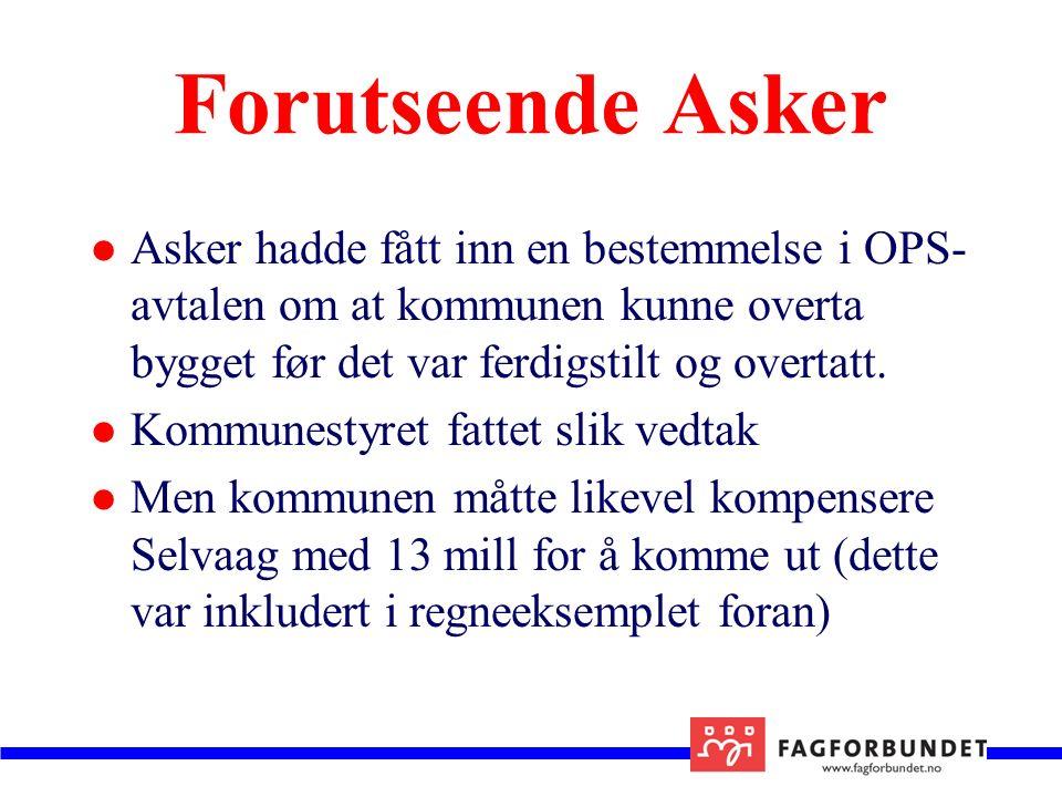 Forutseende Asker Asker hadde fått inn en bestemmelse i OPS- avtalen om at kommunen kunne overta bygget før det var ferdigstilt og overtatt.