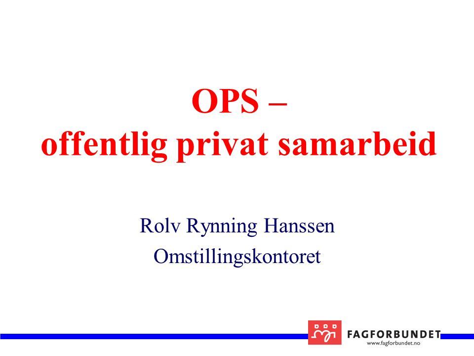 OPS – offentlig privat samarbeid Rolv Rynning Hanssen Omstillingskontoret