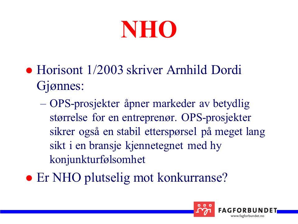NHO Horisont 1/2003 skriver Arnhild Dordi Gjønnes: –OPS-prosjekter åpner markeder av betydlig størrelse for en entreprenør.