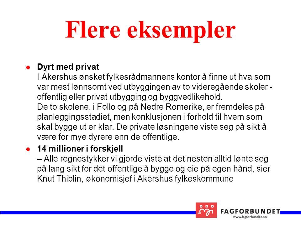 Flere eksempler Dyrt med privat I Akershus ønsket fylkesrådmannens kontor å finne ut hva som var mest lønnsomt ved utbyggingen av to videregående skoler - offentlig eller privat utbygging og byggvedlikehold.