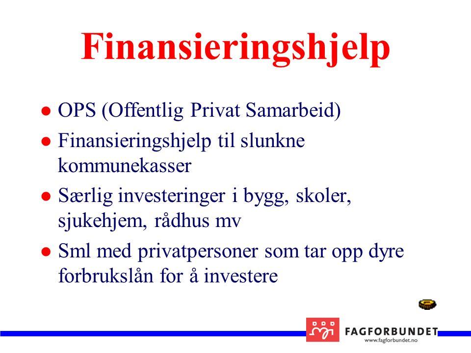 Finansieringshjelp OPS (Offentlig Privat Samarbeid) Finansieringshjelp til slunkne kommunekasser Særlig investeringer i bygg, skoler, sjukehjem, rådhus mv Sml med privatpersoner som tar opp dyre forbrukslån for å investere