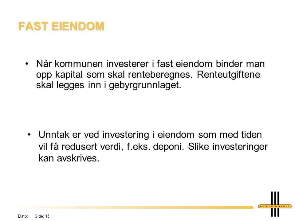Dato: Side: 14 BYGGELÅNSRENTER Kapitalkostnader (avskrivninger + renter) belastes gebyrgrunnlaget først året etter en investering er ført i regnskapet.