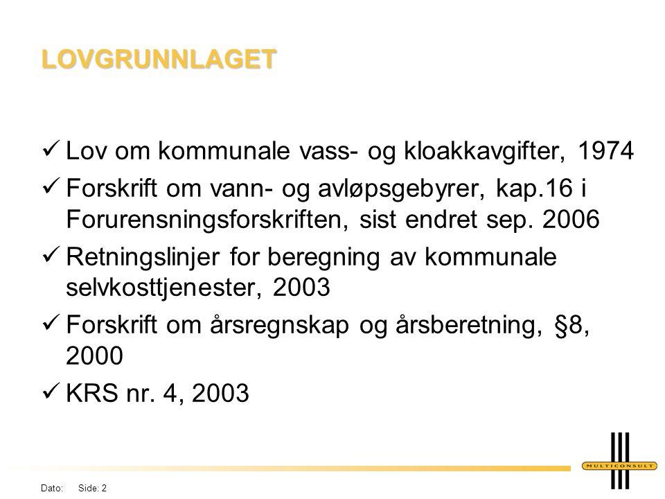 Dato: Side: 2 LOVGRUNNLAGET üLov om kommunale vass- og kloakkavgifter, 1974 üForskrift om vann- og avløpsgebyrer, kap.16 i Forurensningsforskriften, sist endret sep.