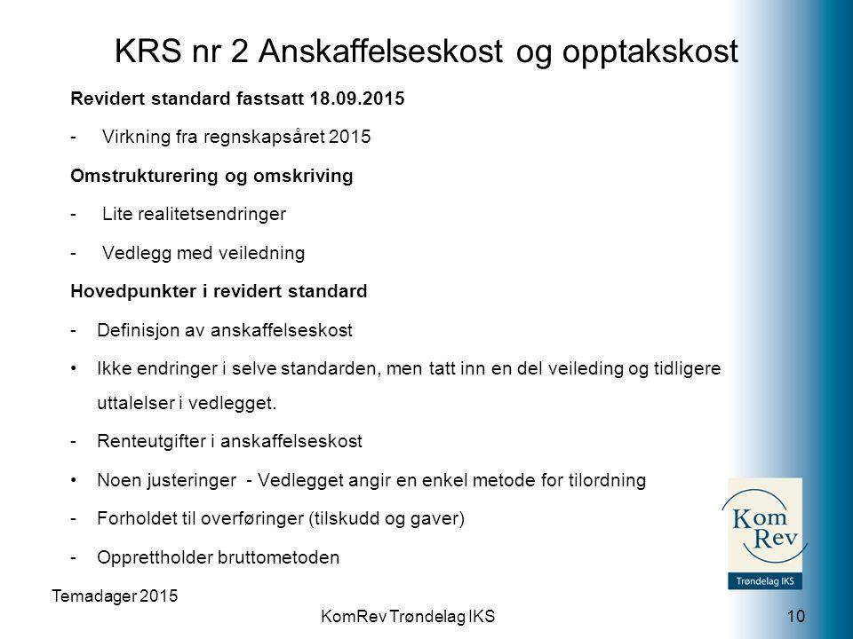 KomRev Trøndelag IKS KRS nr 2 Anskaffelseskost og opptakskost Revidert standard fastsatt 18.09.2015 -Virkning fra regnskapsåret 2015 Omstrukturering o