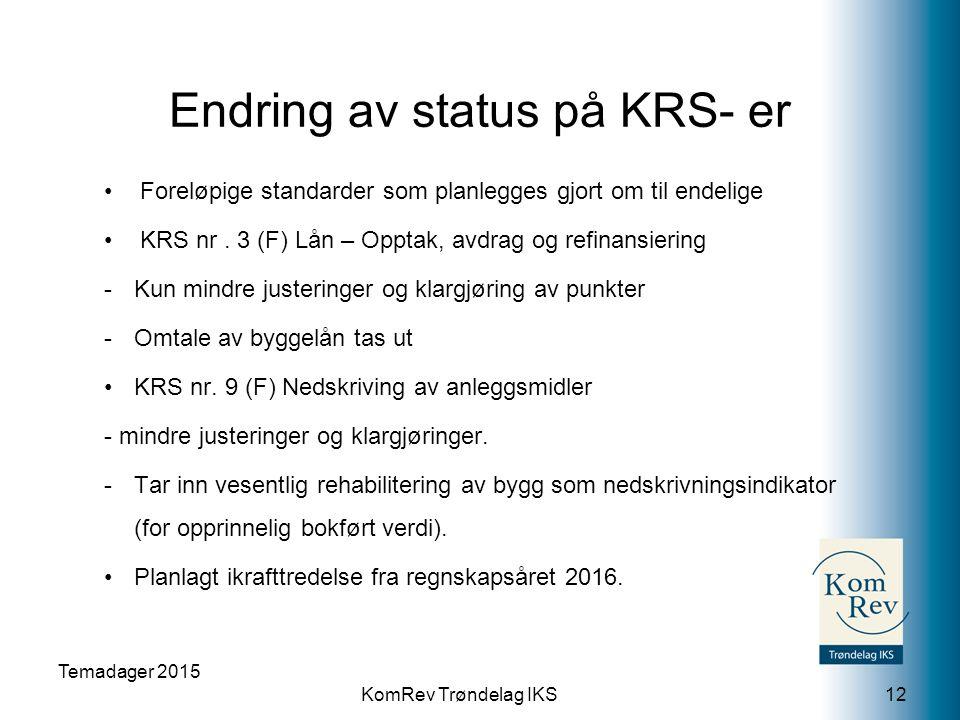 KomRev Trøndelag IKS Endring av status på KRS- er Foreløpige standarder som planlegges gjort om til endelige KRS nr. 3 (F) Lån – Opptak, avdrag og ref