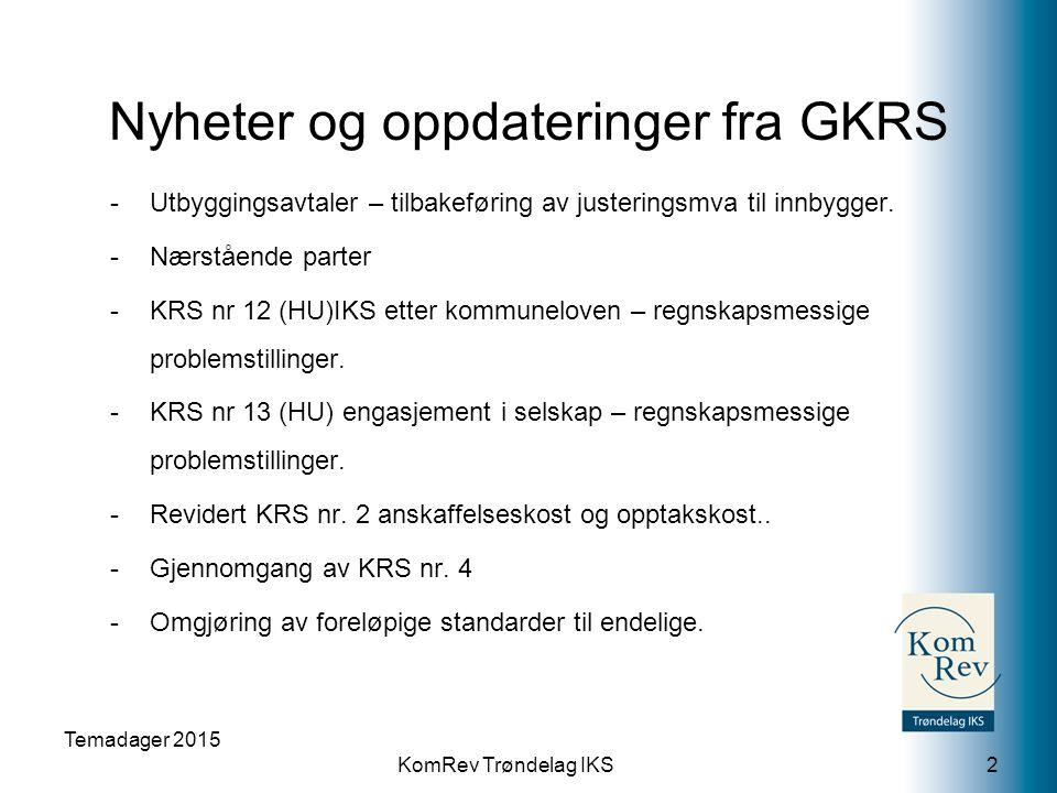 KomRev Trøndelag IKS Nyheter og oppdateringer fra GKRS -Utbyggingsavtaler – tilbakeføring av justeringsmva til innbygger. -Nærstående parter -KRS nr 1