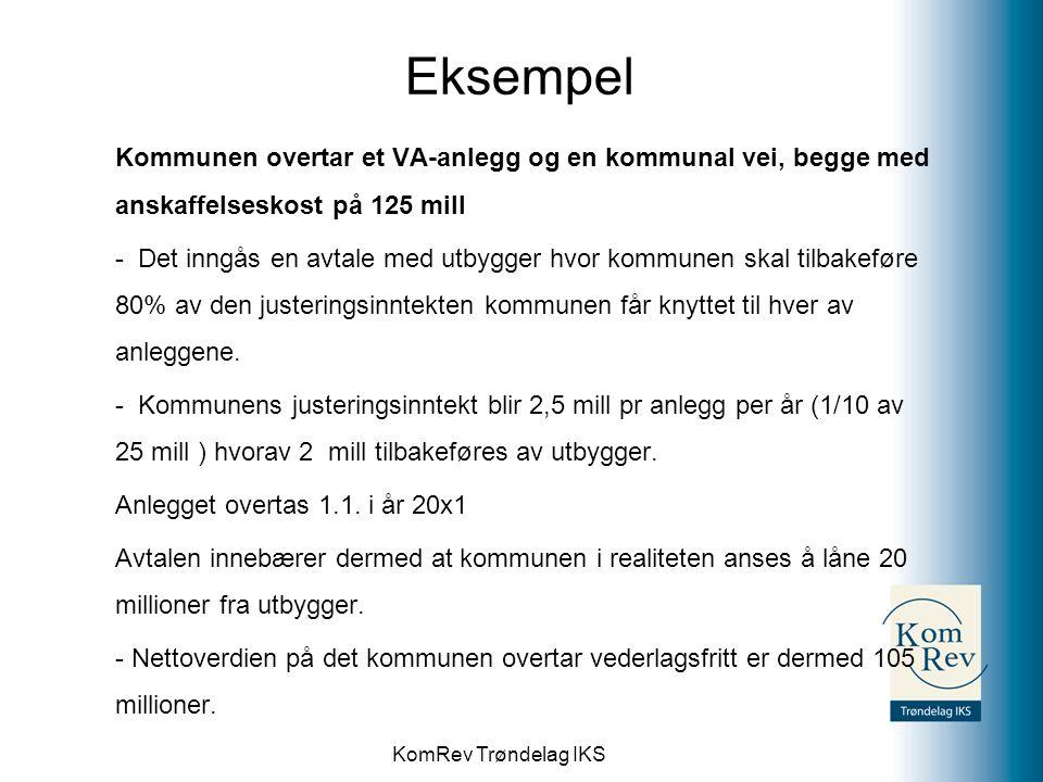 KomRev Trøndelag IKS Eksempel Kommunen overtar et VA-anlegg og en kommunal vei, begge med anskaffelseskost på 125 mill - Det inngås en avtale med utby