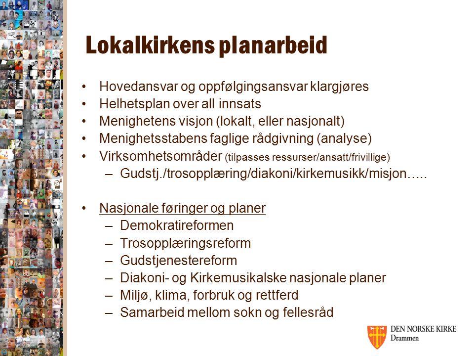 Lokalkirkens planarbeid Hovedansvar og oppfølgingsansvar klargjøres Helhetsplan over all innsats Menighetens visjon (lokalt, eller nasjonalt) Menighet