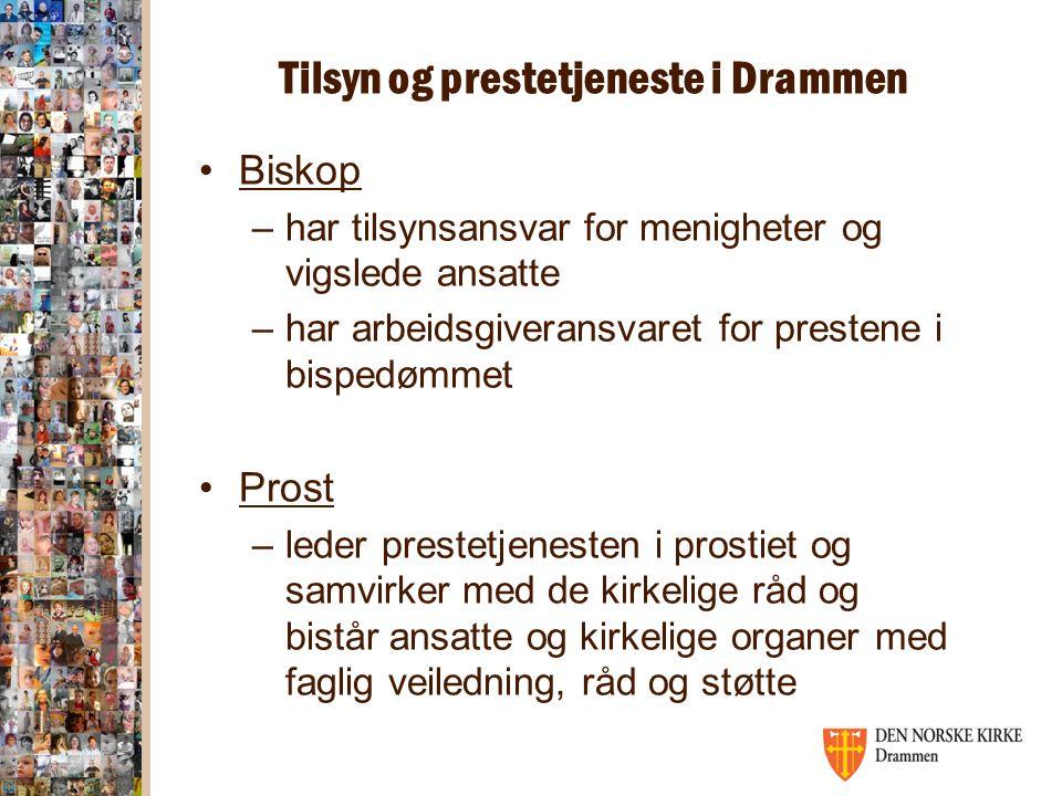 Tilsyn og prestetjeneste i Drammen Biskop –har tilsynsansvar for menigheter og vigslede ansatte –har arbeidsgiveransvaret for prestene i bispedømmet P