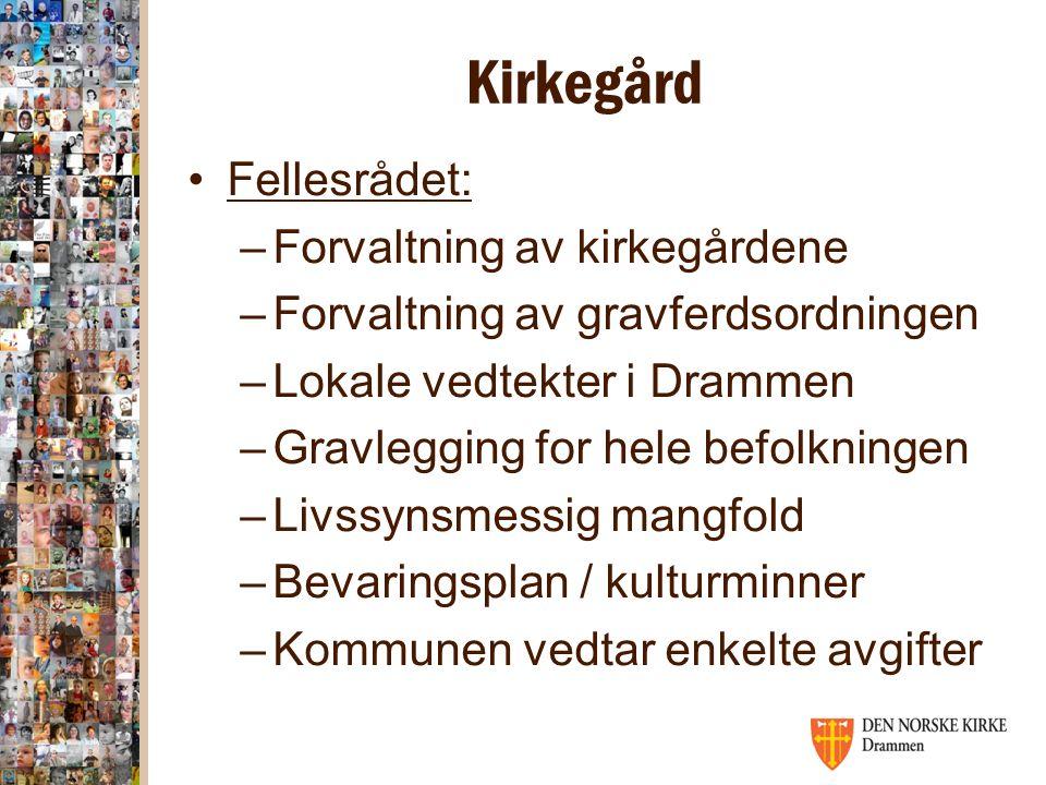 Kirkegård Fellesrådet: –Forvaltning av kirkegårdene –Forvaltning av gravferdsordningen –Lokale vedtekter i Drammen –Gravlegging for hele befolkningen