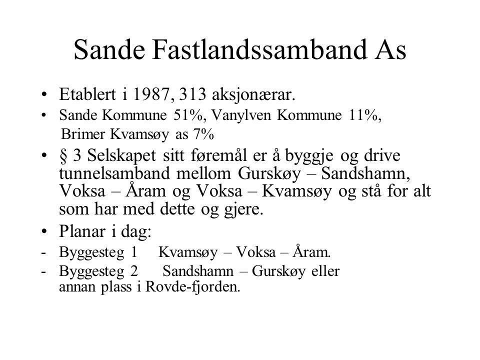 Sande Fastlandssamband As Etablert i 1987, 313 aksjonærar. Sande Kommune 51%, Vanylven Kommune 11%, Brimer Kvamsøy as 7% § 3 Selskapet sitt føremål er