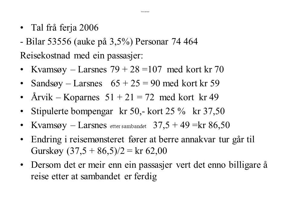 Reise kostnader Tal frå ferja 2006 - Bilar 53556 (auke på 3,5%) Personar 74 464 Reisekostnad med ein passasjer: Kvamsøy – Larsnes 79 + 28 =107 med kort kr 70 Sandsøy – Larsnes 65 + 25 = 90 med kort kr 59 Årvik – Koparnes 51 + 21 = 72 med kort kr 49 Stipulerte bompengar kr 50,- kort 25 % kr 37,50 Kvamsøy – Larsnes etter sambandet 37,5 + 49 =kr 86,50 Endring i reisemønsteret fører at berre annakvar tur går til Gurskøy (37,5 + 86,5)/2 = kr 62,00 Dersom det er meir enn ein passasjer vert det enno billigare å reise etter at sambandet er ferdig