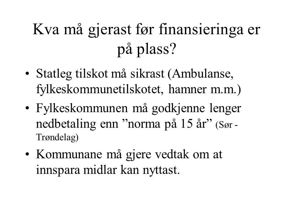 Kva må gjerast før finansieringa er på plass? Statleg tilskot må sikrast (Ambulanse, fylkeskommunetilskotet, hamner m.m.) Fylkeskommunen må godkjenne