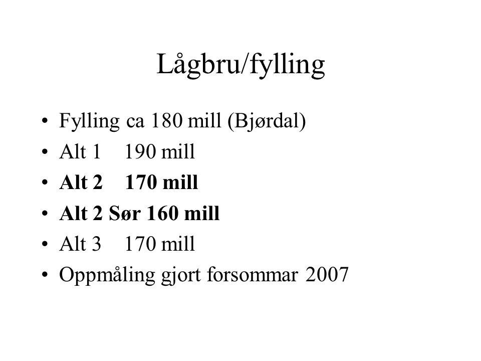Lågbru/fylling Fylling ca 180 mill (Bjørdal) Alt 1 190 mill Alt 2 170 mill Alt 2 Sør 160 mill Alt 3 170 mill Oppmåling gjort forsommar 2007