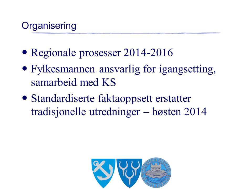 Organisering Regionale prosesser 2014-2016 Fylkesmannen ansvarlig for igangsetting, samarbeid med KS Standardiserte faktaoppsett erstatter tradisjonelle utredninger – høsten 2014