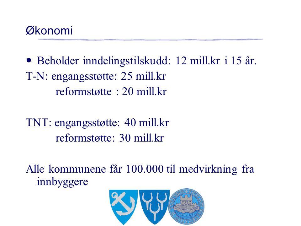 Økonomi Beholder inndelingstilskudd: 12 mill.kr i 15 år.