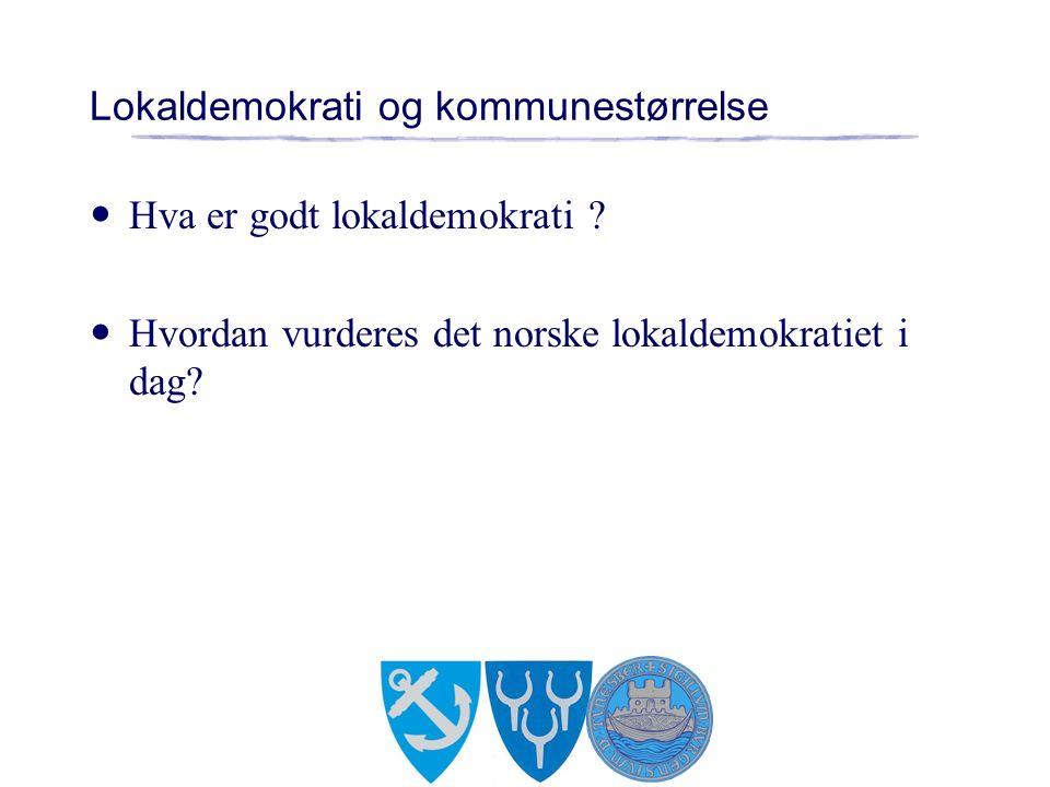 Lokaldemokrati og kommunestørrelse Hva er godt lokaldemokrati .
