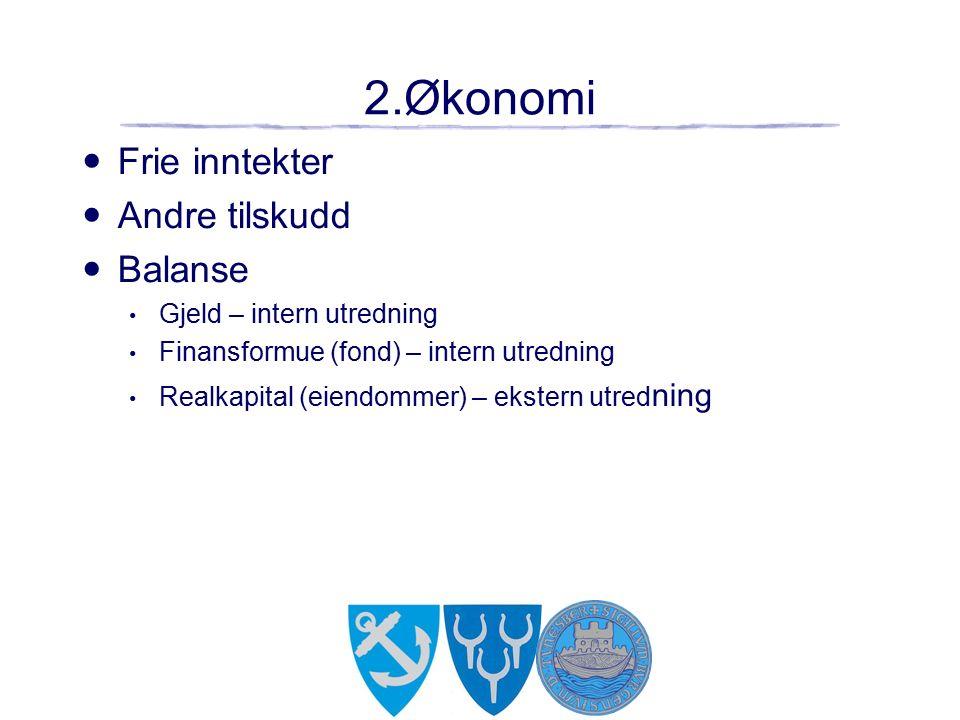 2.Økonomi Frie inntekter Andre tilskudd Balanse Gjeld – intern utredning Finansformue (fond) – intern utredning Realkapital (eiendommer) – ekstern utred ning