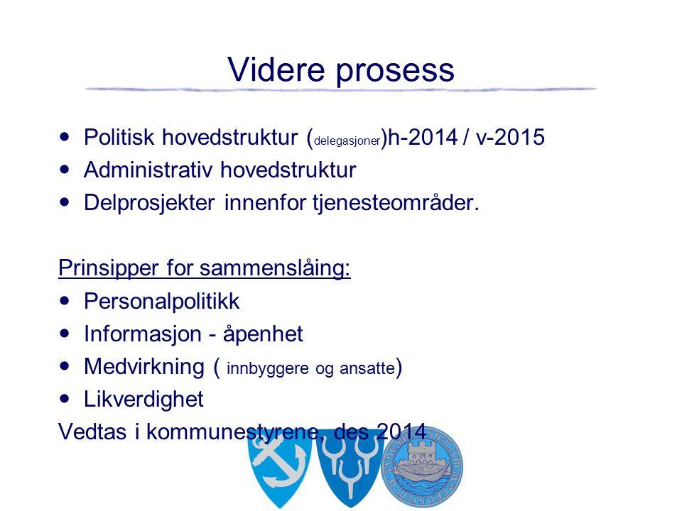 Videre prosess Politisk hovedstruktur ( delegasjoner )h-2014 / v-2015 Administrativ hovedstruktur Delprosjekter innenfor tjenesteområder.