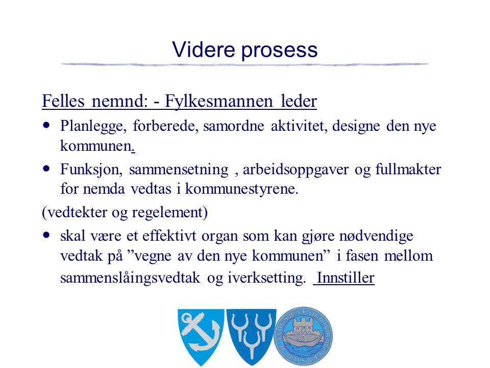 Videre prosess Felles nemnd: - Fylkesmannen leder Planlegge, forberede, samordne aktivitet, designe den nye kommunen.
