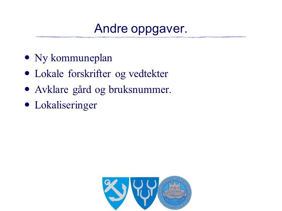 Andre oppgaver. Ny kommuneplan Lokale forskrifter og vedtekter Avklare gård og bruksnummer.