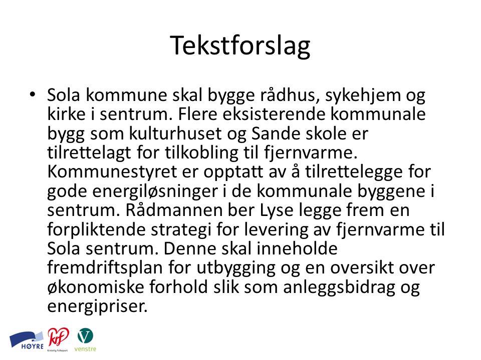 Tekstforslag Sola kommune skal bygge rådhus, sykehjem og kirke i sentrum.