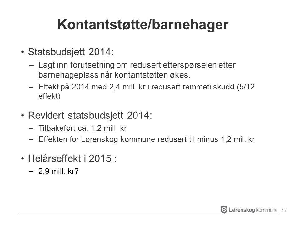Statsbudsjett 2014: –Lagt inn forutsetning om redusert etterspørselen etter barnehageplass når kontantstøtten økes.