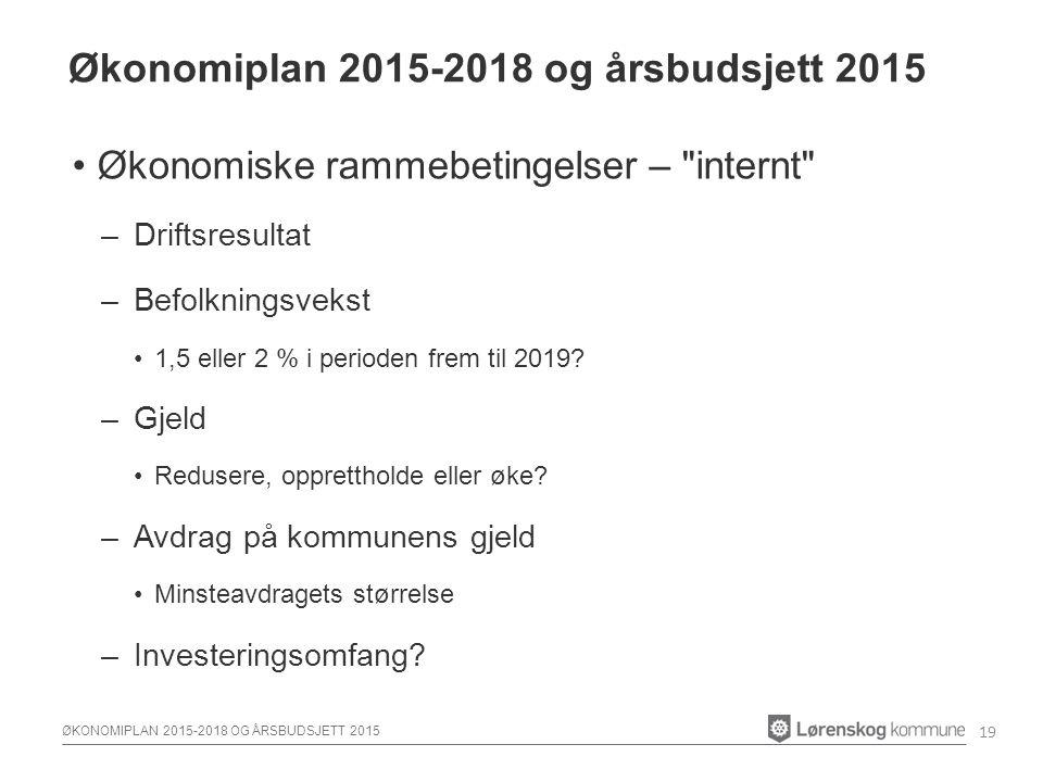 ØKONOMIPLAN 2015-2018 OG ÅRSBUDSJETT 2015 Økonomiske rammebetingelser – internt –Driftsresultat –Befolkningsvekst 1,5 eller 2 % i perioden frem til 2019.