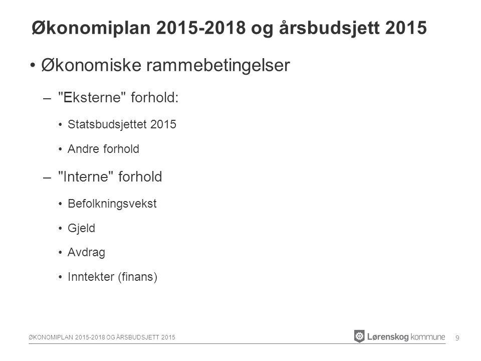 ØKONOMIPLAN 2015-2018 OG ÅRSBUDSJETT 2015 Økonomiske rammebetingelser – eksternt –Revidert nasjonalbudsjett 2014 –Kommuneproposisjonen (2015) Skatt og rammetilskudd –Lavere forventninger til skatteinngang, endringer i veksttilskudd mm.