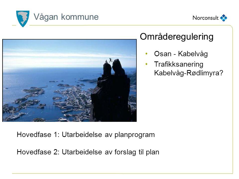 Vågan kommune Områderegulering Osan - Kabelvåg Trafikksanering Kabelvåg-Rødlimyra? Hovedfase 1: Utarbeidelse av planprogram Hovedfase 2: Utarbeidelse