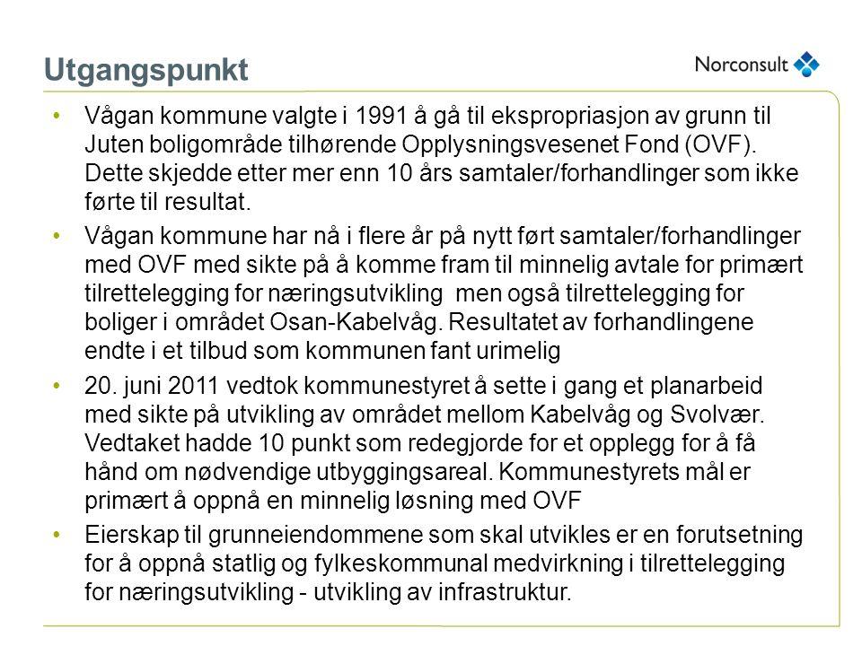 Utgangspunkt Vågan kommune valgte i 1991 å gå til ekspropriasjon av grunn til Juten boligområde tilhørende Opplysningsvesenet Fond (OVF). Dette skjedd