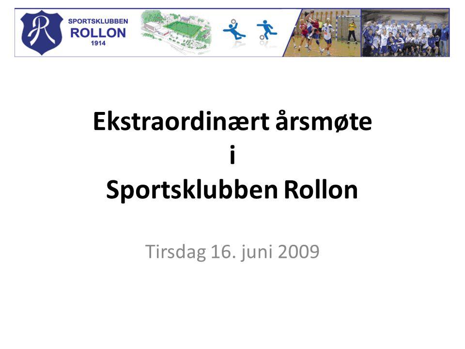 Ekstraordinært årsmøte i Sportsklubben Rollon Tirsdag 16. juni 2009
