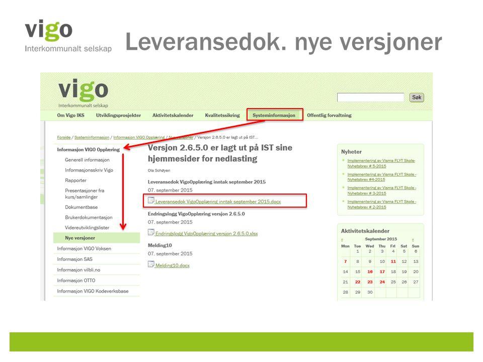 Leveransedok. nye versjoner